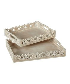 Another great find on #zulily! Carved Floral Rectangle Tray Set #zulilyfinds