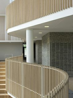 International School Ikast-Brande with curving balconies by C. Møller International School Ikast-Brande with curving balconies by C. Wood Railing, Stair Handrail, Staircase Railings, Balcony Railing, Railing Design, Atrium, A As Architecture, Patio Interior, International School