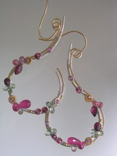 Curled Vine and Blossoms...Ruby Garnet Sapphire Signature Original Mixed Metal Sculptural Earrings