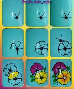 Pin by Chuu Mon on Nail art Nail Art Hacks, Gel Nail Art, Flower Nail Designs, Simple Nail Art Designs, Cute Nail Art, Easy Nail Art, Nail Art Designs Videos, Floral Nail Art, Fancy Nails