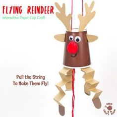 Flying Reindeer Puppets This Flying Paper Cup by Reindeer Craft is so easy to make and play with. Pull the string to make Rudolf fly up and down! Reindeer crafts have never been so fun! An interactive Christmas craft for kids not to be missed! Kids Crafts, Winter Crafts For Kids, Crafts For Kids To Make, Craft Kids, Christmas Crafts For Children, Christmas Handprint Crafts, Christmas Activities, Holiday Crafts, Kindergarten Christmas Crafts