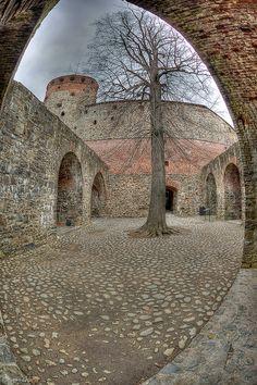 Inner yard of Olavinlinna Castle, Lake Saimaa, Finland Dark Winter, City Landscape, Fortification, Medieval Castle, Helsinki, Australia, Places To Visit, To Go, Around The Worlds