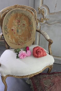 Pretty Antique Aubusson~ Old Roses~Pillow?