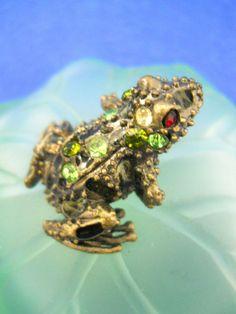 Frog Perfume Bottle Green Glass Lily Pad Rhinestones Metal Stopper Cloth Tassel