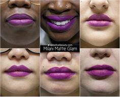 A Positive Beauty: Milani Moisture Matte Glam Swatch on different skin tones.  A full review of Milani's 2015 Moisture Matte Lipsticks only on apositivebeauty.com!   #lipsticks #Milani #beautyreviews #makeup