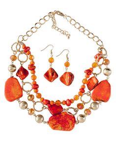 Multi Strand Orange Bead & Flat Stone Necklace