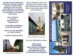 Itinerary outside for Mid-Winter Cuban Salsa Dance & Paint Group Excursion Feb. 22 - Mar. 7, 2016. Http://www.nikkisportraits.com