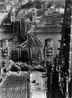 onlyoldphotography:  Margaret Bourke-White: Hohenzollern Bridge, Cologne, Germany, 1945
