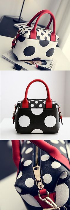 Is polka dots your favorite print? Check out this charming cross body black - white - red bag. $24.99