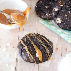 Fudgy dark chocolate cookies made with Guinness beer, drizzled with caramel, and sprinkled with sea salt.