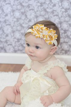 Baby headband Stripe Shabby chic Headband  Newborn headband Baby girl headband Toddler Elastic Photo Prop