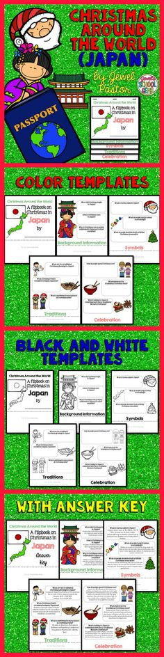 """CHRISTMAS AROUND THE WORLD (JAPAN)  Engage your students with this Christmas Around the World Activity: """"A Research Flipbook on Christmas in Japan"""".  This resource contains: *5 pages of color templates *5 pages of black and white templates *5 pages with answers to the questions (Answer Key)  Children will learn about Christmas traditions and celebrations in Japan in a fun and interactive way with this flipbook research project!"""