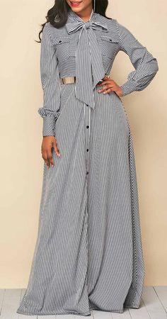 Tie Neck Stripe Print Button Up Maxi Dress, free shipping worldwide at rosewe.com.