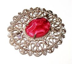 """Edwardian Brooch Pin Pink Marbled Art Glass Clear Ice Rhinestones Silver Cast Metal 2.5"""" Vintage 1910-20s"""