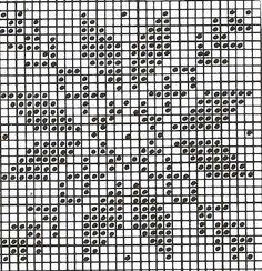 Cross stitch, but good for a filet crochet pattern too! Knitting Charts, Knitting Stitches, Knitting Patterns, Crochet Designs, Crochet Quilt, Tapestry Crochet, Crochet Motif, Chicken Scratch Patterns, Hand Embroidery
