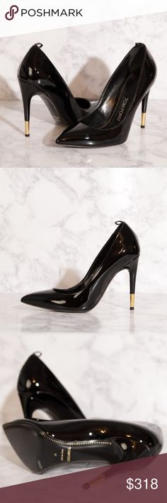 Tom Ford Patent Leather Pumps Black patent leather stiletto pumps with gold tone heel detail by Tom Ford. Worn only once for an indoor event. Like new apart from a few small marks on the sole. These are AMAZING heels! Selling for a friend- if they were my size I'd certainly be keeping these!!! Size Euro 37 which is a size 6 US (in Tom Ford). Tom Ford Shoes Heels