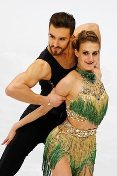 Gabriella Papadakis and Guillaume Cizeron of France perform in the Ice Dance category of Short Dance segment skating during the ISU European Figure...