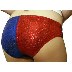 Red and blue sequinned shorts Cosplay Daddys Little Monster Fancy... ($18) ❤ liked on Polyvore featuring costumes, red halloween costumes, womens halloween costumes, womens costumes, role play costumes and lady halloween costumes
