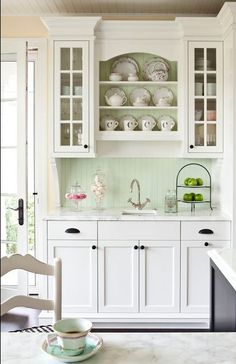 mint beadboard backsplash kitchen...this would be a great color scheme for a bathroom too