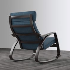 POÄNG Gyngestol - sortbrun, Hillared mørkeblå - IKEA Luxury Office Chairs, Luxury Chairs, Ikea Armchair, Upholstered Swivel Chairs, White Leather Dining Chairs, Black Dining Room Chairs, White Chairs, Rocking Chair Cushions, Rocking Chairs