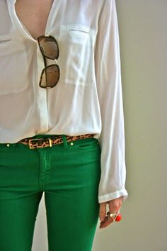 Love This Summer Outfit Green Skinnies, Leopard Belt And White Shirt