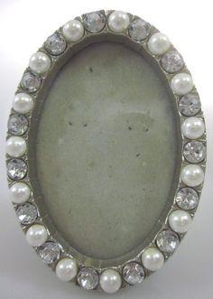 DESIGNER Silver Plated Faux Pearl Rhinestone Embellished Oval Picture Frame @ www.ShopLindasStuff.com