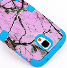 """myLife (TM) Sky Blue - Light Pink Tree Camouflage Design (3 Piece Hybrid) Hard and Soft Case for the Samsung Galaxy S4 """"Fits Models: I9500, I9505, SPH-L720, Galaxy S IV, SGH-I337, SCH-I545, SGH-M919, SCH-R970 and Galaxy S4 LTE-A Touch Phone"""" (Fitted Front and Back Solid Cover Case + Internal Silicone Gel Rubberized Tough Armor Skin + Lifetime Warranty + Sealed Inside myLife Authorized Packaging) """"ADDITIONAL DETAILS: This three layer Galaxy S4 armor skin gel fit together case"""
