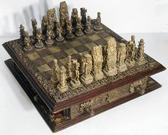 "Vtg Large Chess Set  Wood Board w/ Drawers Mayan Aztec 6"" Tall King 8.2 Oz"