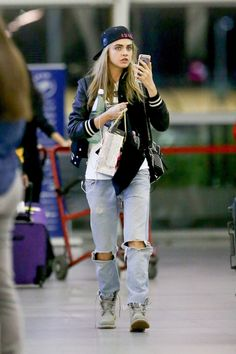 Cara Delevinge rocking the Grey 6 Inch Monochromatic Boots.
