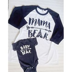 Mama Bear Family Shirt Set in length sleeve raglan for adult and youth and complimenting infant apparel Family Shirts, Kids Shirts, Cool Shirts, Mama Bear Shirt, Mommy And Me Shirt, Baby Boy Fashion, Mom Outfits, Diy Shirt, Matching Shirts