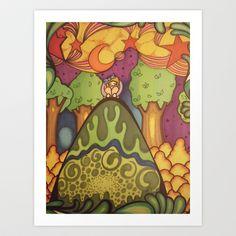 girl on a hill Art Print by ArtsyWendi - $14.56.....society6.com/artsywendi