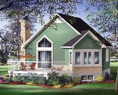 Unusual. 696 sq. ft small house plan.