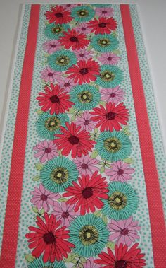 Quilted Table Runner  Spring Floral Table Runner  by VillageQuilts