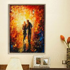 hand painted leonid afremov painting colorful  painting lovers going home knife oil painting wall art  decoration painting AD194