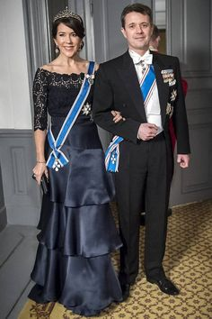 Crown Prince Frederik and Crown Princess Mary at the state banquet for the Iceland president state visit