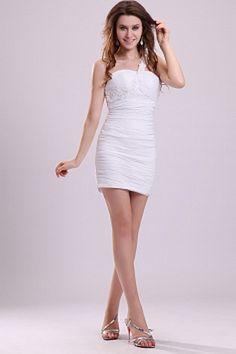 White Chiffon One-shoulder Bridal Gown - Order Link: http://www.theweddingdresses.com/white-chiffon-one-shoulder-bridal-gown-twdn0635.html - Embellishments: Beading , Applique , Draped , ; Length: Short; Fabric: Chiffon; Waist: Natural - Price: 159.1USD