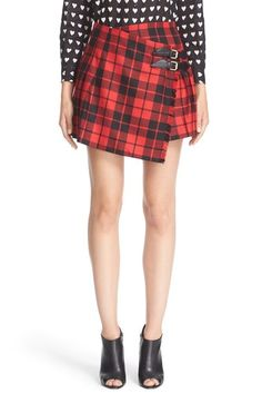 Burberry Leather Trim Plaid Wool Skirt available at #Nordstrom