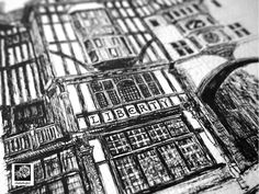 Close up view of my Liberty of London Black and white print from original pen and ink hand drawn illustation by illustrationbyelc on #Etsy #ArtandCollectibles #Prints #DigitalPrints #illustrations #illustratedprints #gift #illustration #art #artprints #blackandwhite #Etsy #LibertyofLondon #London #Buildings #architecture #libertyprint #Etsyprints #Etsyshop #Etsylondon #Etsyresolution2016