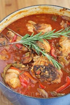 Oven-Braised Chicken Cacciatore with Rosemary. From http://jeanetteshealthyliving.com. Made in a cast iron dutch oven.