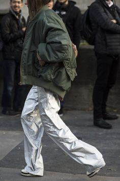 SILVER. METALLIC. PANTS see: Ursina Gysi / Paris