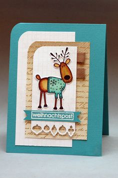 fun image of reindeer wearing a sweater on a white, brown and aqua card...