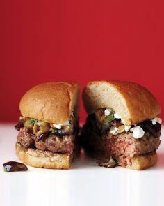 Lamb Burger- Cumin and coriander add a Mediterranean touch to these juicy lamb burgers. Top each burger with feta or goat cheese and grilled eggplant-mint relish. Greek Turkey Burgers, Pork Burgers, My Burger, Good Burger, Veggie Burgers, Lamb Burger Recipes, Lamb Recipes, Grilling Recipes, Cooking Recipes