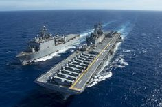 USS Bonhomme Richard (LHD 6) and the amphibious dock landing ship USS Ashland (LSD 48)
