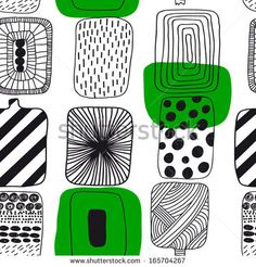 Black and white with green geometric pattern, Finnish design. Seamless pattern Gorgeous seamless floral background by Happy_Soul, via Shutt...
