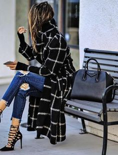 coat, ripped jeans, heels, purse