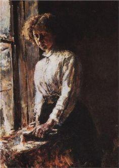 By the Window. Portrait of Olga Trubnikova - Valentin Serov (Russian 1865-1911)