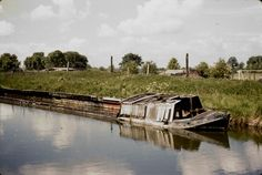 BW197-2-26-4-2 derelict vessels on the Wendover Arm of the Grand Union Canal including a wooden horseboat and a wooden tug Date nd [1950s]