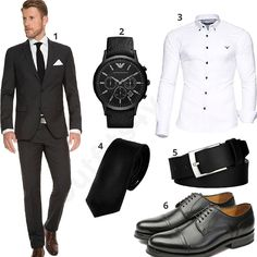Business Outfit mit schwarzem Marzotto Slimfit Anzug (m0532)