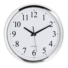 Wall Clock, White Face, Chrome Effect