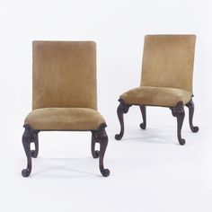 A FINE PAIR OF GEORGE II WALNUT BACK STOOLS ATTRIBUTED TO GILES GRENDEY, CIRCA 1735 both with a seat rail painted on the inside with the number 1538